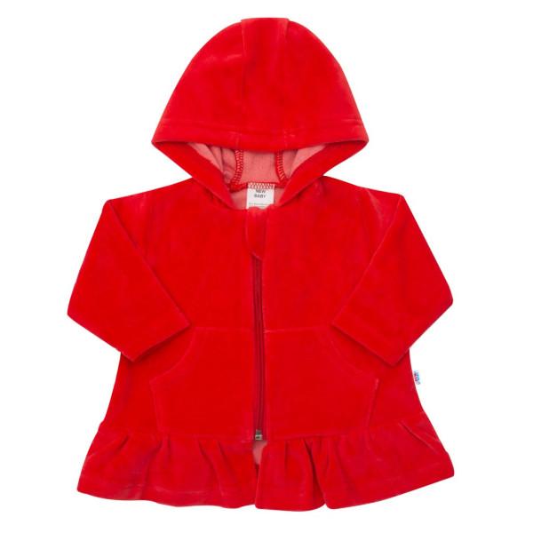 Semišková mikinka s kapucí New Baby Baby červená 62 (3-6m)