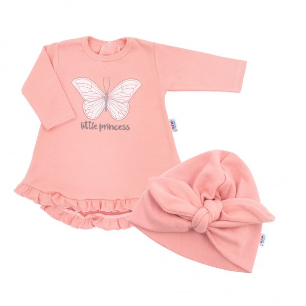 Kojenecké šatičky s čepičkou-turban New Baby Little Princess růžové 74 (6-9m)