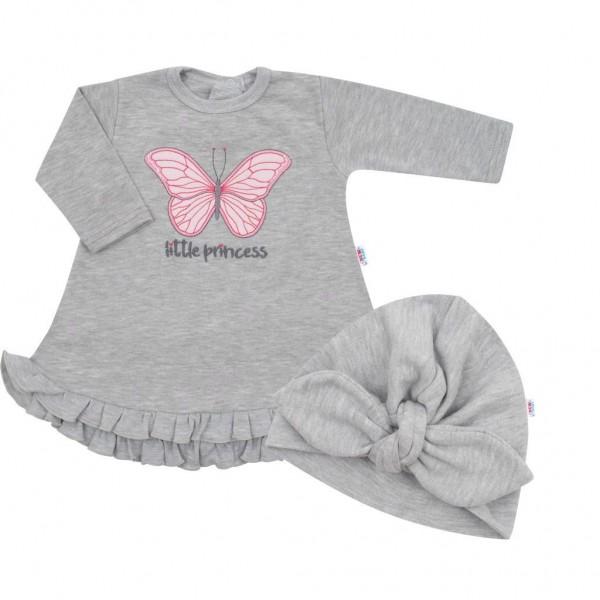 Kojenecké šatičky s čepičkou-turban New Baby Little Princess šedé 74 (6-9m)
