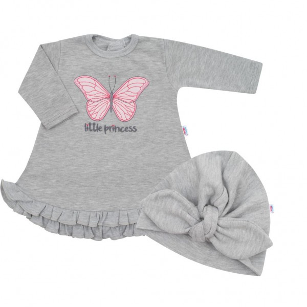 Kojenecké šatičky s čepičkou-turban New Baby Little Princess šedé 86 (12-18m)