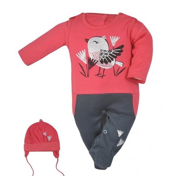 3-dílná bavlněná dětská souprava Koala Birdy tmavé růžová 56 (0-3m)