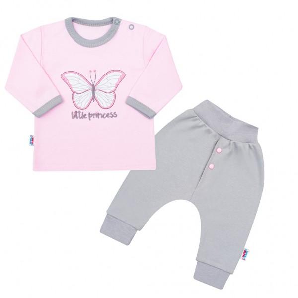 2-dílná kojenecká bavlněná soupravička New Baby Little Princess růžovo-šedá 56 (0-3m)