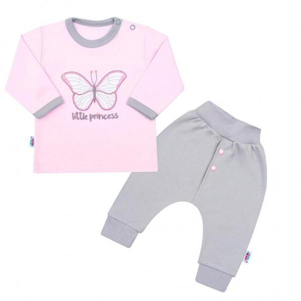 2-dílná kojenecká bavlněná soupravička New Baby Little Princess růžovo-šedá 80 (9-12m)