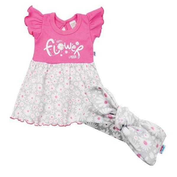Kojenecké letní bavlněné šatičky s čelenkou New Baby Happy Flower tmavě růžové 56 (0-3m)