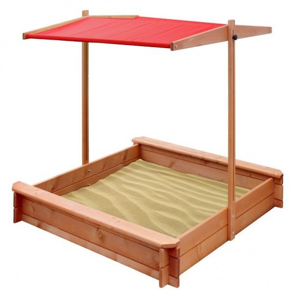 Dětské dřevěné pískoviště se stříškou NEW BABY 120x120 cm červené