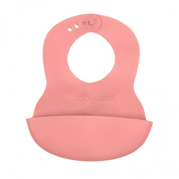 Nastavitelný plastový bryndák s kapsičkou Baby Ono růžový