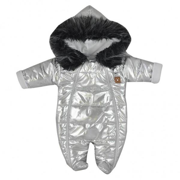 Zimní kojenecká kombinéza s kapucí Koala Lara stříbrná 56 (0-3m)