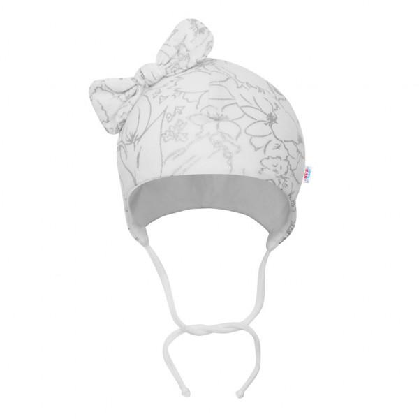 Kojenecká bavlněná čepička s mašličkou New Baby NUNU bílá 62 (3-6m)